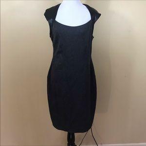 Bailey 44 Dress Gray Ponte Knit Black Faux
